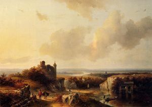 Barend Cornelis Koekkoek - An extensive river landscape with travellers