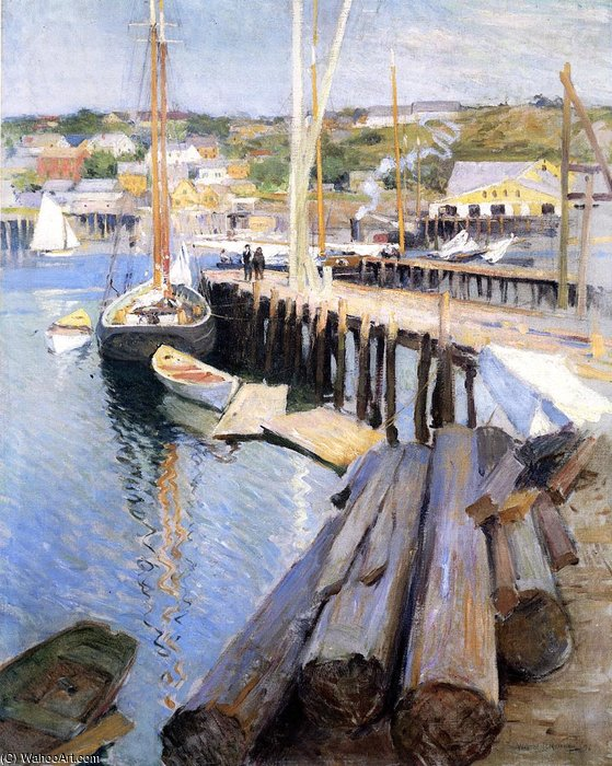 famous painting fish wharves gloucester of Willard Leroy Metcalf