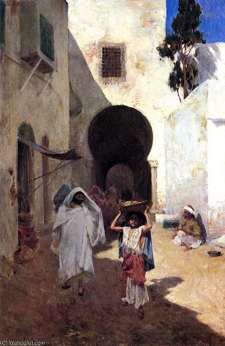famous painting street scene tangiers of Willard Leroy Metcalf