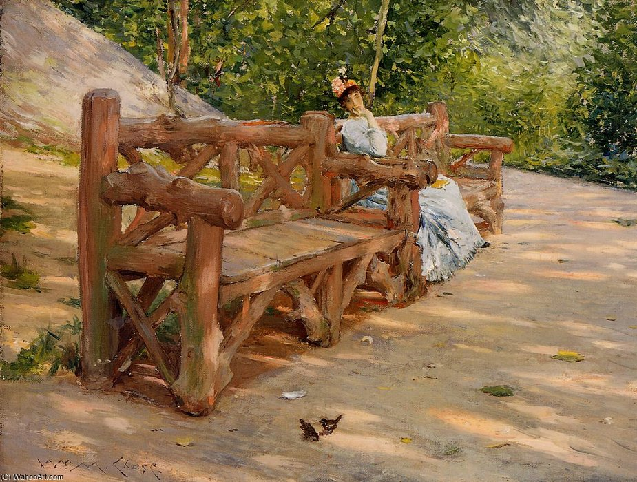 famous painting Park Bench aka An Idle Hour in the Park Central Park of William Merritt Chase