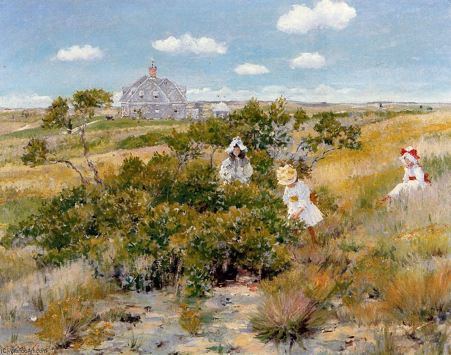 famous painting The Bayberry Bush aka Chase Homestead Shinnecock of William Merritt Chase