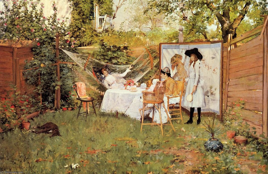famous painting The Open Air Breakfast aka The Backyard Breakfast Out of Doors of William Merritt Chase