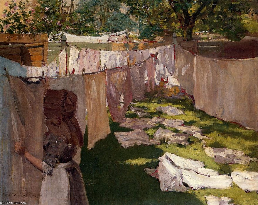 famous painting Wash Day A Back Yark Reminiscence of Brooklyn of William Merritt Chase