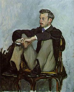 Jean Frederic Bazille - Portrait of Pierre-Auguste Renoir, Oil on canv
