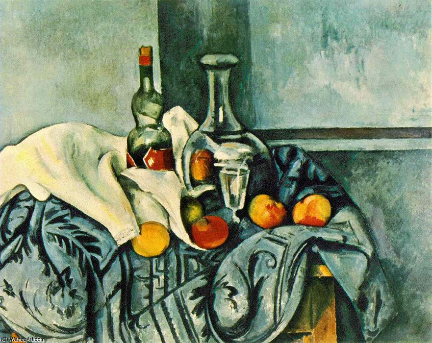 Order Museum Quality Copies Impressionism | Still life with peppermint bottle,1890-94, ng washin by Paul Cezanne | TopImpressionists.com