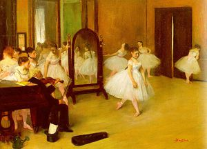 Edgar Degas - Dance Class, approx. oil on wood, Metropolitan M