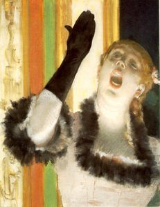 Edgar Degas - Singer with a glove, ca Pastel and liquid medium