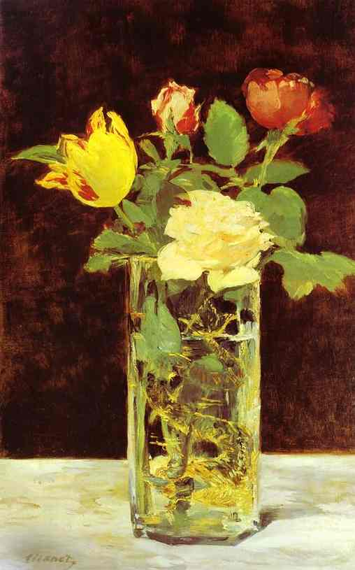 famous painting Roses and Tulips in a Vase of Edouard Manet