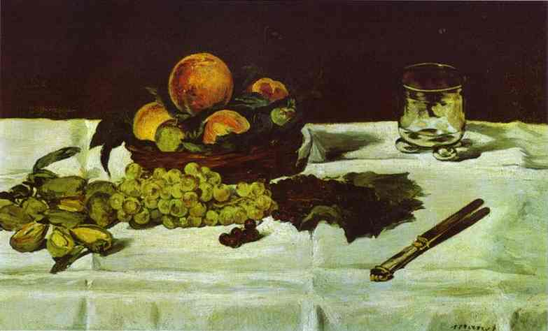 famous painting Still Life_ Fruit on a Table of Edouard Manet