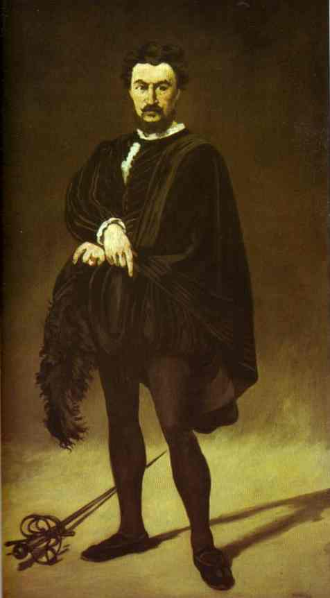 famous painting The Tragic Actor (Rouviere as Hamlet) of Edouard Manet
