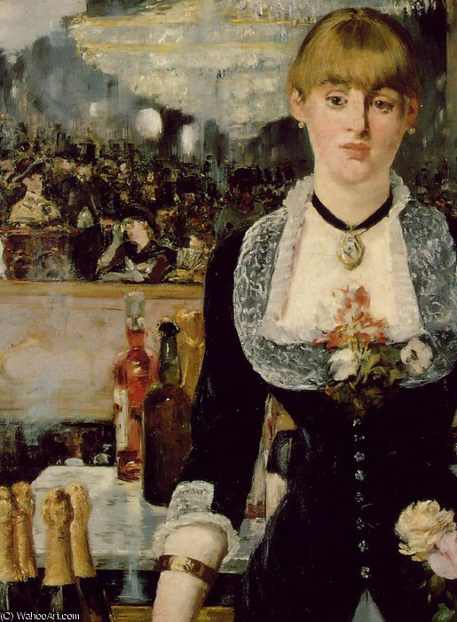 famous painting A bar at Folies-Bergeres, (Detalj 1) 96x130 c of Edouard Manet