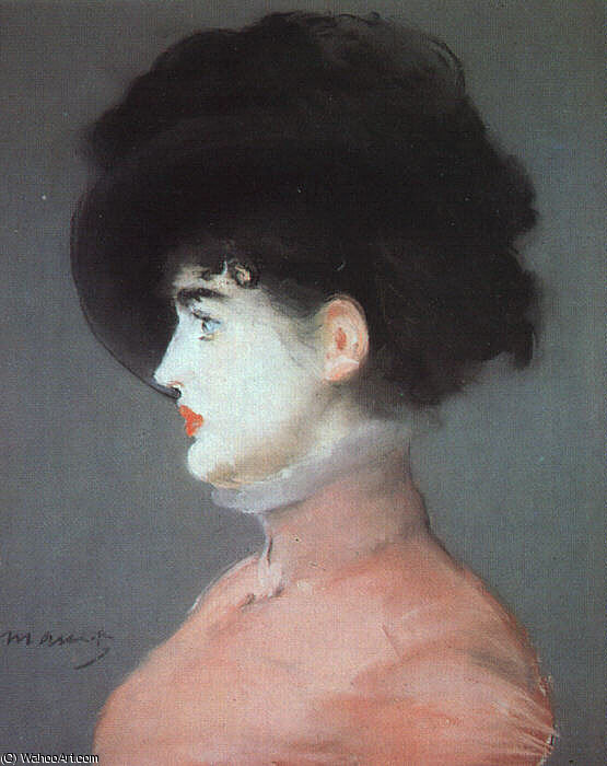 famous painting Irma Brunner (Woman in a Black Hat), pastel o of Edouard Manet