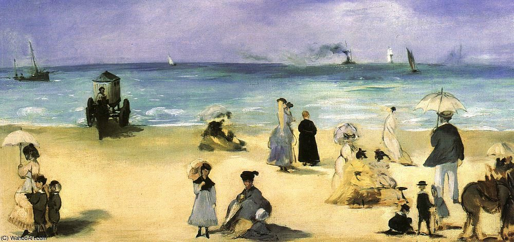 famous painting On the Beach at Boulogne, Virginia Museum of Fine Arts of Edouard Manet