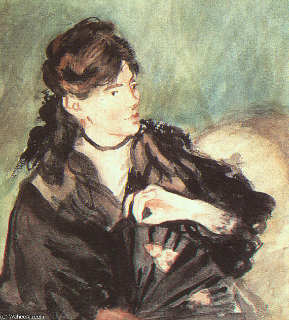 famous painting Portrait of Berthe Morisot, watercolor on paper, of Edouard Manet