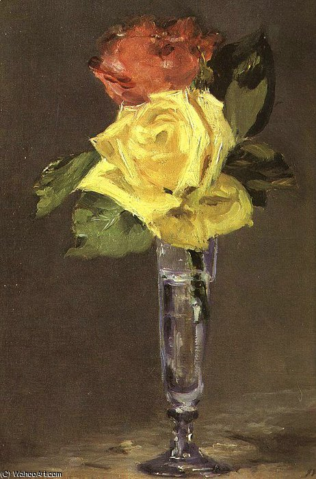 famous painting Roses in a Champagne Glass, Burrell Collection, of Edouard Manet
