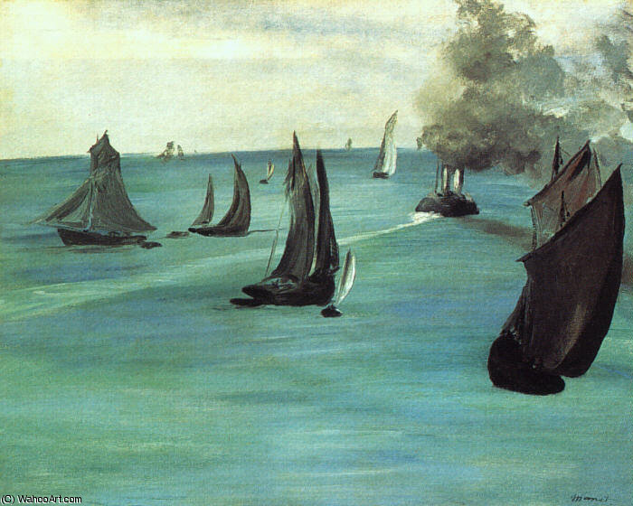 famous painting The Beach at Sainte-Adresse, oil on canvas, Art of Edouard Manet