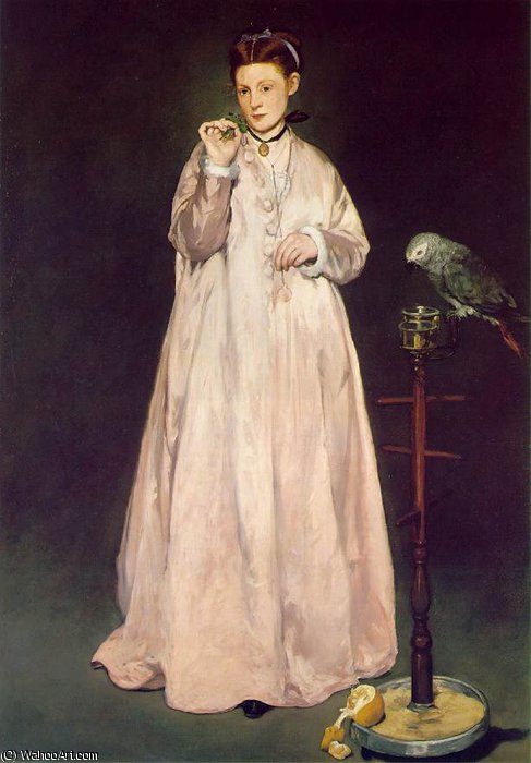 famous painting Woman with parrot, Metropolitan of Edouard Manet