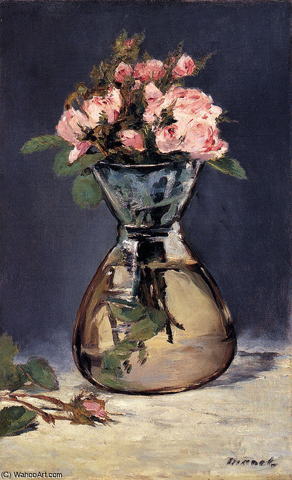 famous painting Moss roses in a vase of Edouard Manet
