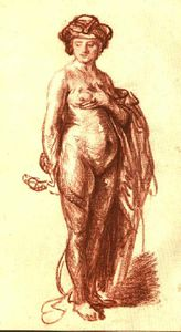 Rembrandt Van Rijn - Female Nude with Snake (Cleopatra), Red chal