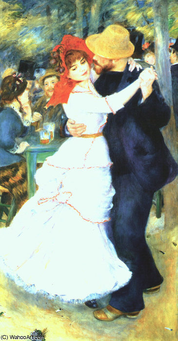 famous painting Dance at Bougival, oil on canvas, Museum of Fin of Pierre-Auguste Renoir