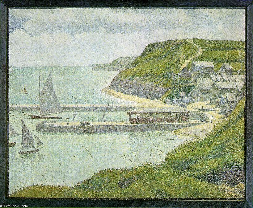 famous painting Port-en-Bessin - Outer Harbor at High Tide, of Georges Pierre Seurat