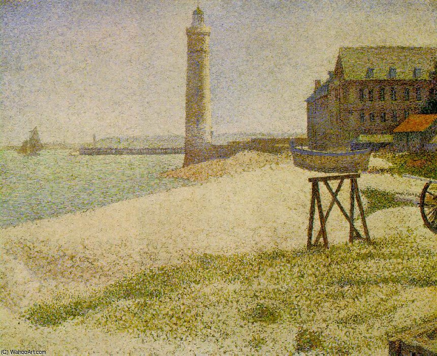 famous painting The Lighthouse at Honfleur, NG Wa of Georges Pierre Seurat