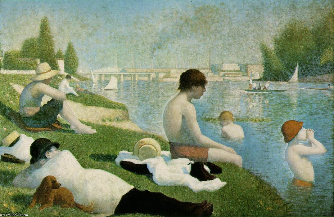 famous painting Une baignade, Asniéres, NG, Lond of Georges Pierre Seurat