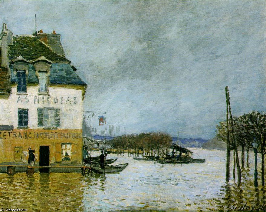 famous painting Flood at Port-Marly, Musee des Beaux - of Alfred Sisley