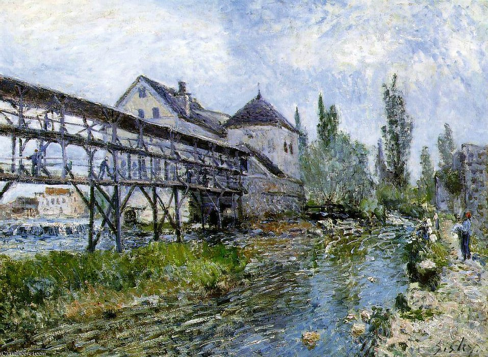 famous painting Provencher's mill at Moret, Museum Bo of Alfred Sisley