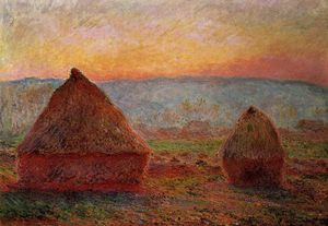 Claude Monet - Grainstacks, sunset