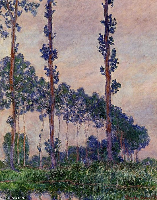 famous painting Poplars in Grey Weather of Claude Monet