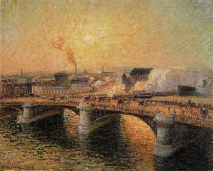 Camille Pissarro - The boieldieu bridge, rouen - sunset