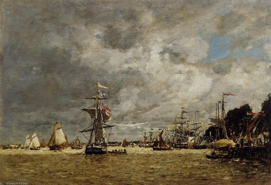 famous painting Anvers, Boats on the Ecaut of Eugène Louis Boudin