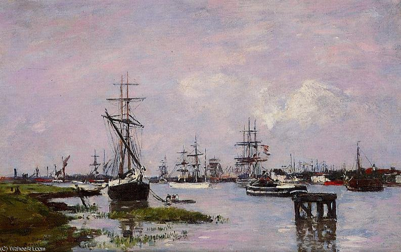 Order Paintings Reproductions Impressionism | Anvers, the port by Eugène Louis Boudin | TopImpressionists.com