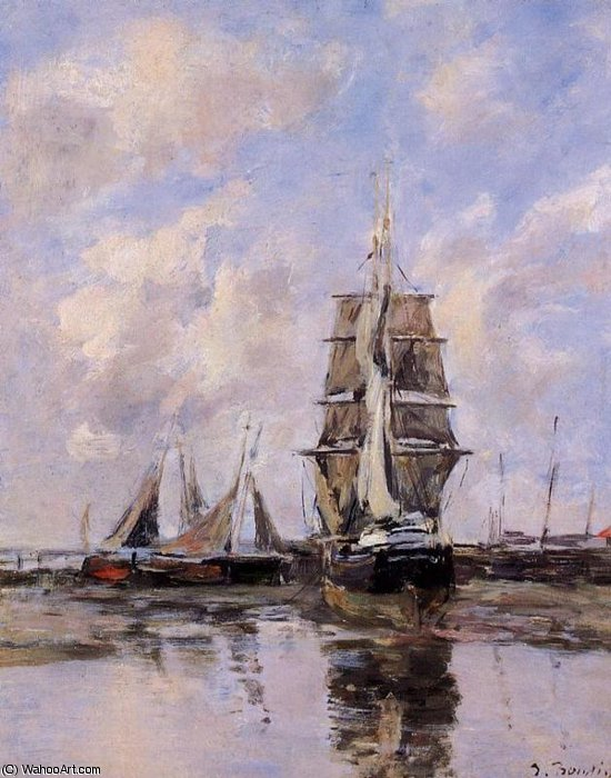 famous painting Beached boats of Eugène Louis Boudin