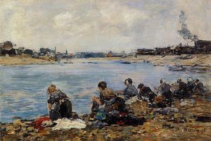 Eugène Louis Boudin - Laundresses on the Bankes of the Touques