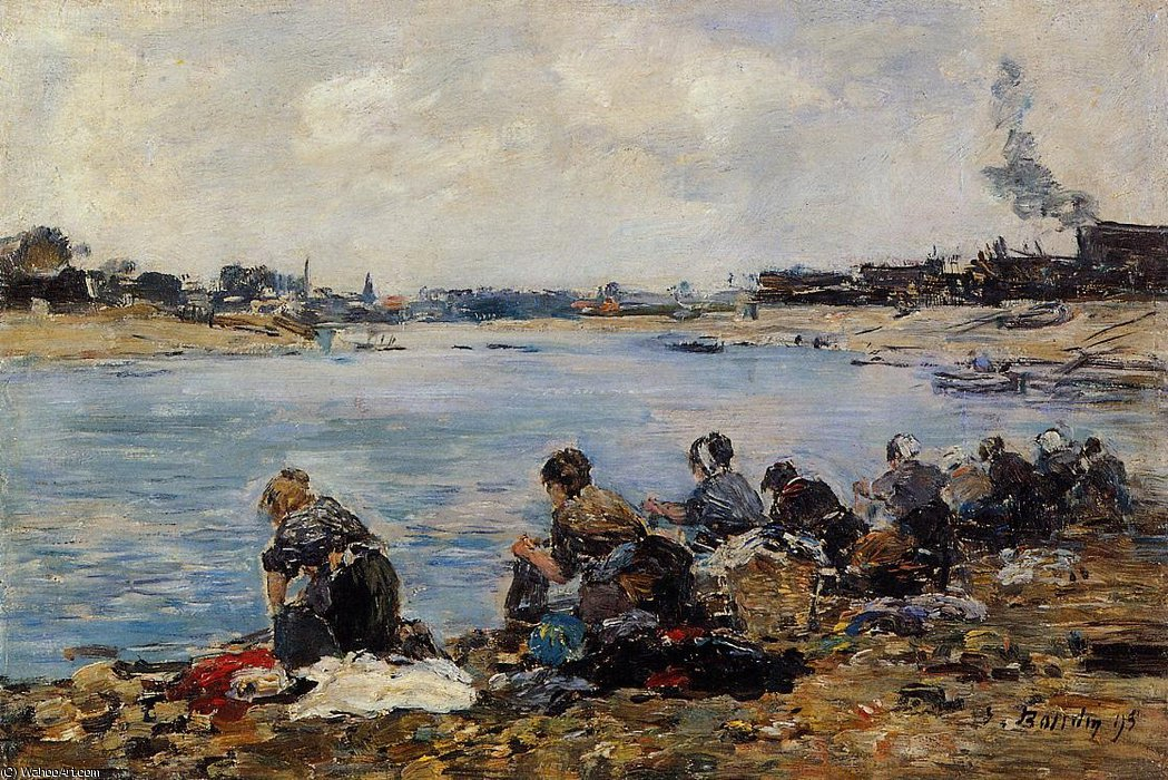 famous painting Laundresses on the Bankes of the Touques of Eugène Louis Boudin
