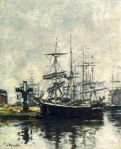 Eugène Louis Boudin - Le Havre, Sailboats at Dock, Basin de la Barre