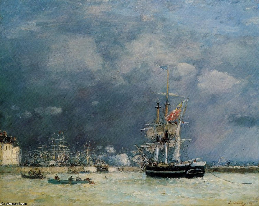famous painting Port du Le Havre, in the Evening of Eugène Louis Boudin