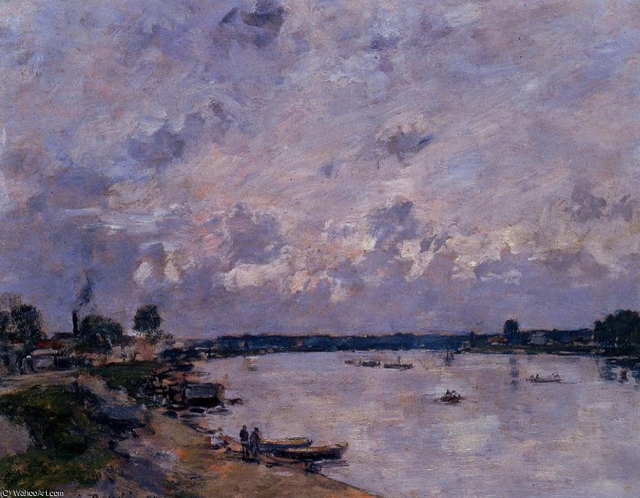 famous painting The Banks of the Seine at Caudebec en Caux of Eugène Louis Boudin