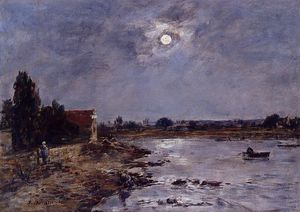 Eugène Louis Boudin - The Banks of the Touques - Moonlight