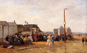 Eugène Louis Boudin - The Bathing Hour at Trouville