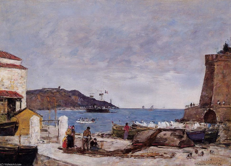 famous painting The Bay of Villefranche, the Port of Eugène Louis Boudin