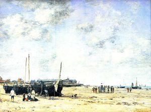 Eugène Louis Boudin - The Beach at Berck