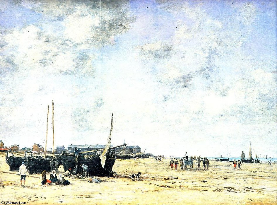 famous painting The Beach at Berck of Eugène Louis Boudin