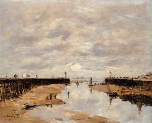 Eugène Louis Boudin - The jettys, low tide, trouville