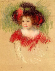 Mary Stevenson Cassatt - Margot in big bonnett and red dress