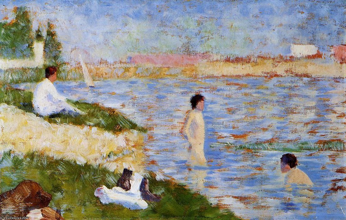 famous painting Bathing at Asnieres - Bathers in the Water of Georges Pierre Seurat