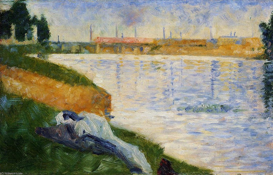 famous painting Bathing at Asnieres - Clothing on the Grass of Georges Pierre Seurat