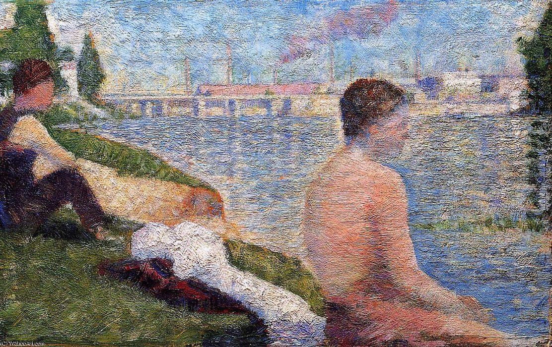 famous painting Bathing at Asnieres - Seated Bather of Georges Pierre Seurat